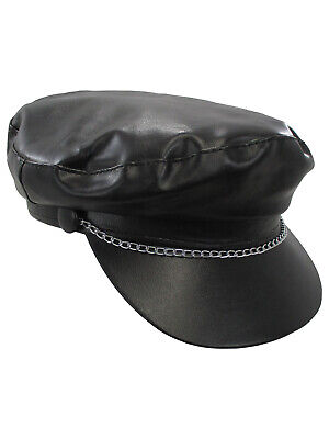 an Biker Gang Punk Black Vinyl Hat Cap Costume Accessory (Gay Gang)