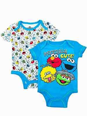 Sesame Street Infant Boys 2pc Blue Elmo Bodysuit Set Cookie Monster Outfit](Cookie Monster Outfit Baby)
