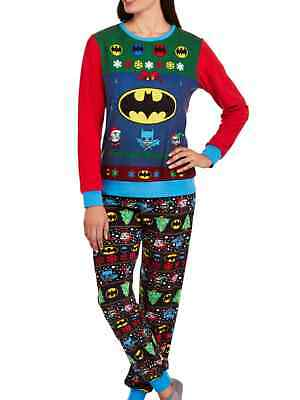 DC Comics Womens Fleece Batgirl Ugly Sweater Pajamas Batman Holiday Sleep - Ugly Sweater Pajamas