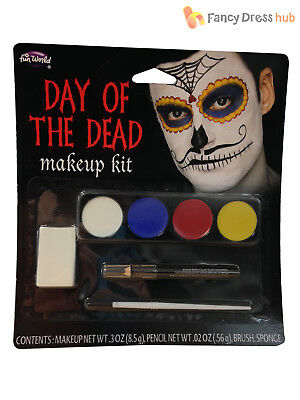 Adults Day of the Dead Make Up Kit Halloween Mexican Skeleton Face Paint Mens