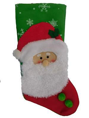 Fake Red Beards (Green & Red Santa Claus Christmas Stocking with Faux Fur)