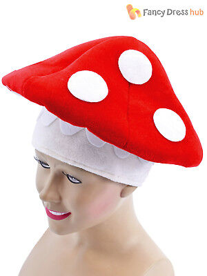 Adult Toad Stool Hat Mushroom Mario Mens Ladies Fancy Dress Accessory Fairy Tale - Toad Mario Hat