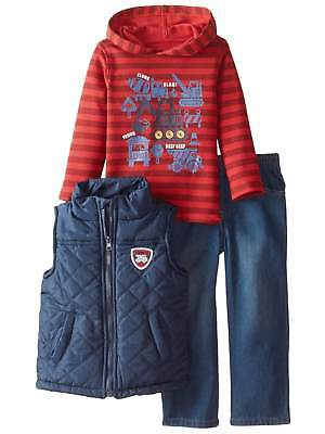 Kids Headquarters Infant Boys 3P Construction Outfit Vest Hoodie & Pants
