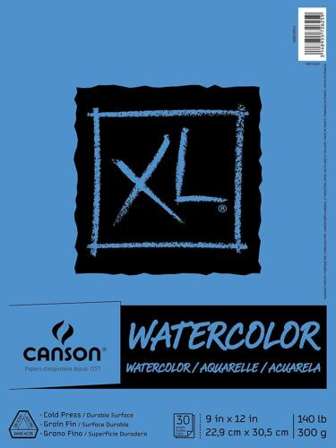 """Canson XL Series Watercolor Textured Paper Pad 9"""" x 12"""" - 30-Sheets"""
