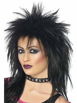 Womens Punk Rocker Wig Spiky Black Hair 80s Diva Mullet Look Adult Costume NEW - 80s Punk Rocker Costume