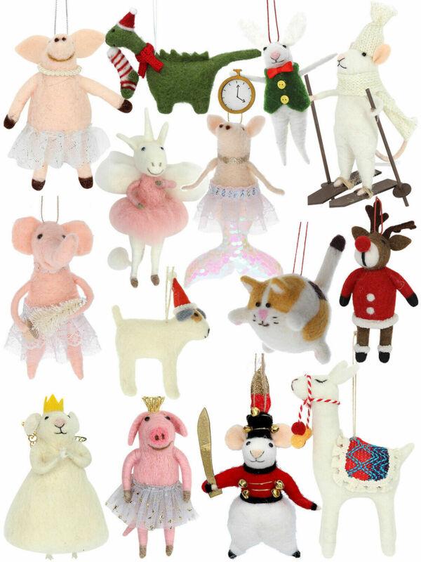 Gisela Graham Wool Hanging Christmas Tree Decoration Pig Ballerina Unicorn Llama