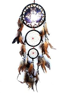 Dream Catcher with feathers wall hanging decoration ornament-Wolf