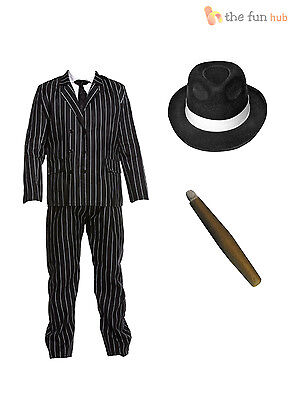 Gangster Costume Mens 1920s Godfather Mafia Pinstripe Suit Adults Fancy Dress