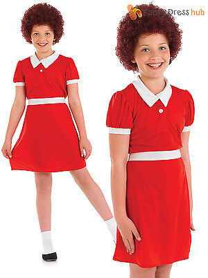 Girls Orphan Annie Fancy Dress Costume Child Musical Character Book Week Outfit (Annie Orphan Dress)