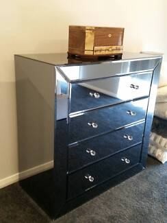 Grey Mirrored Chest of Drawers / Tall Boy from India Leppington Camden Area Preview