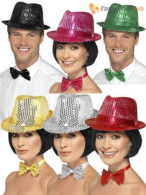 Adult Sequin Trilby Hat + Bowtie Ladies Cabaret - 20 S Cabaret Kostüm