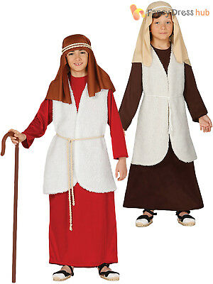 Childs Shepherd Costume Boys Girl Christmas Nativity Fancy Dress Xmas Outfit