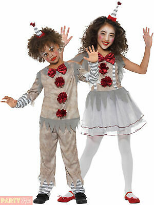 Childs Vintage Clown Costume Boy Girl IT Scary Halloween Horror Fancy Dress Kids