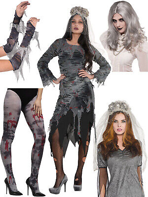 Zombie Bride Halloween Outfits (Ladies Zombie Corpse Bride Costume Veil Wig Halloween Fancy Dress Outfit Womens)