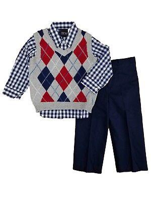 TFW Infant Boys 3-Piece Dress Up Outfit Gray Argyle Sweater Vest Shirt & Pants 3 Piece Argyle Vest