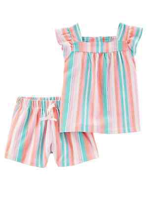 - Carters Toddler Girls Orange & Pink Pastel Stripes Outfit Shirt & Shorts Set