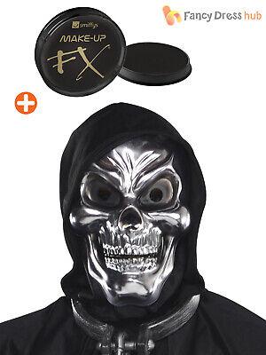 Mens Halloween Makeup Skull (Skull Mask + Makeup Skeleton Halloween Grim Reaper Fancy Dress Costume)