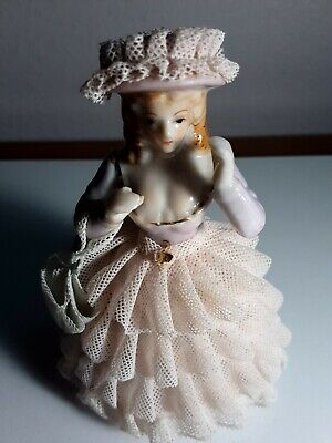 Beautiful Pink porcelain lace doll figurine