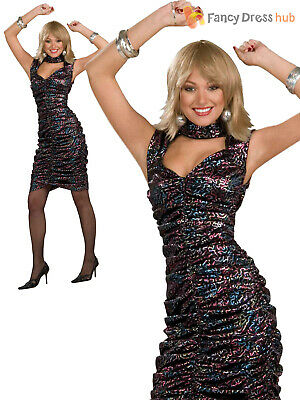 Ladies 80s 1980s 1970s Disco Fever Womens Sexy Fancy Dress Costume Outfit