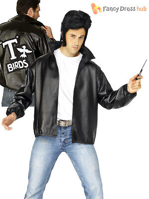 Mens Official Grease T-Birds Jacket Adults T Bird 50's Danny Fancy Dress Costume Danny T-bird Adult Grease
