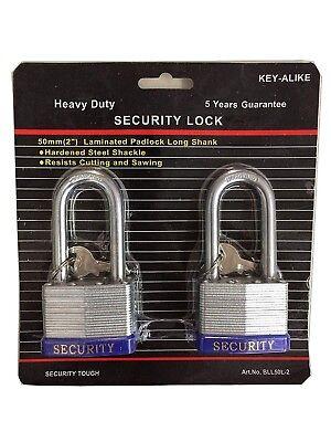 Heavy Duty Keyed Alike Set Security Padlock and Key (2 Pack)