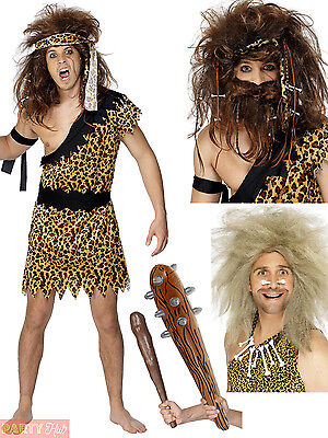 Cave Man Outfit (Mens Caveman Costume + Wig + Club Adults Flintstones Fancy Dress Cave Man)