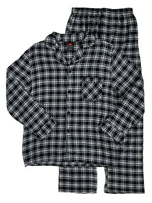 Hanes Mens 2 Piece Black & White Plaid Flannel Sleepwear Pajama Set Sleep Set Black White Mens Sleepwear