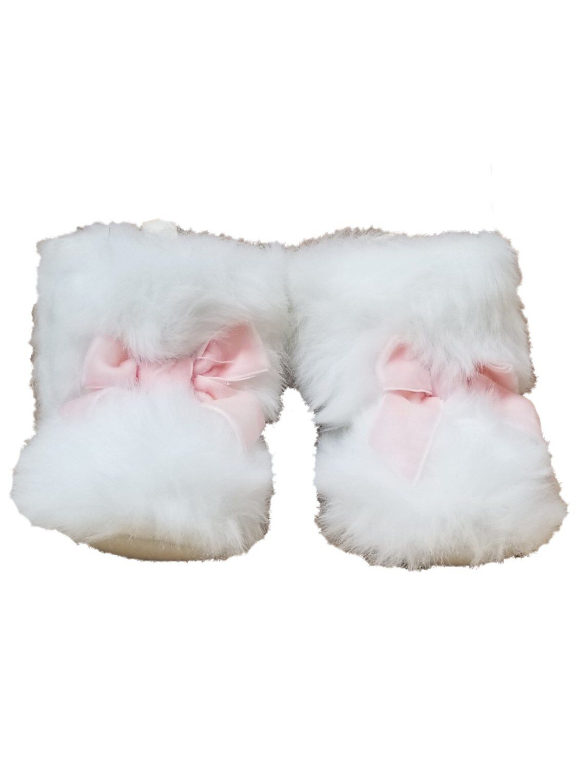 Infant Girls White Faux Fur Booties Pink Bow Slipper House Shoe Baby Boots