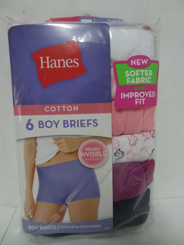 8024af145da4 Details about Hanes Women's Cotton Boy Briefs 6-Pack Size 5 Assorted Colors  Floral & Solid