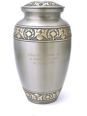 Customized Platinum and Gold Funeral Cremation Urn, Adult Size W Personalization