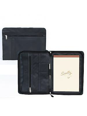 New Scully Leather Zip Letter Writing Pad Document Portfolio Black