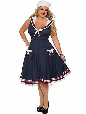 Ladies Halloween Fancy Dress Plus Sizes (Ahoy Lady Sailor Girl Navy Blue Fancy Dress Halloween Plus Size Adult)