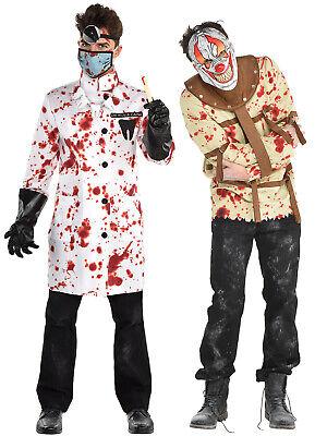Mens Evil Psycho Clown Doctor Patient Halloween Fancy Dress Killer Zombie Outfit