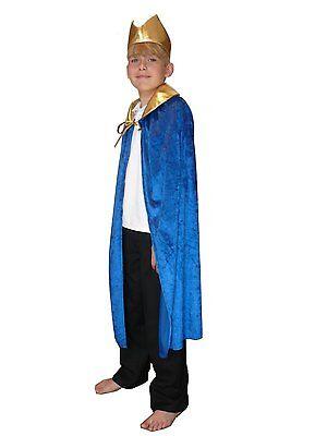 Kings Crown Kostüme (BLUE CAPE AND CROWN KING WISE MAN CLOAK CHILD FANCY DRESS COSTUME NATIVITY)