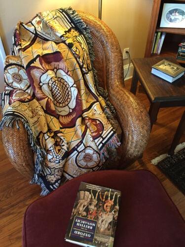 """Tudor Rose Deluxe Custom Designed Woven Blanket Throw Gift Large 50""""x60"""" Cotton"""