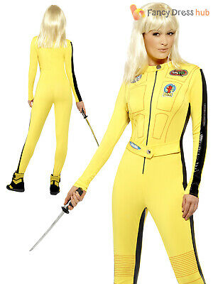 Ladies Kill Bill Costume Uma Thurman Fancy Dress Halloween Superhero - Uma Kill Bill Kostüm