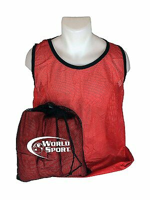 12 Pack YOUTH RED Blank Scrimmage Vests pinnies bibs soccer football  lacrosse 78d7f3f889907