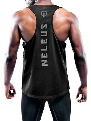 NELEUS 'Dry Fit Logo Muscle' Mesh Tank Top Men's M Gym Worko