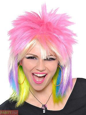 Ladies Punk Rock Chick Wig Adults 80s Mullet Rocker Fancy Dress Accessory - Rocker Chick Costume