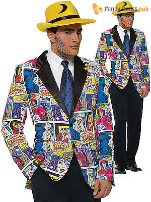 Men's 50's Kostüme (Adult 50s Pop Art Blazer Mens Comic Book Fancy Dress Costume Andy Warhol Outfit)