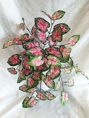 Pink / Green Caladium Bush Home Office Centerpieces Decoration Artificial Plants