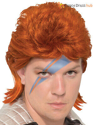 Mens 70s Rock Legend Wig Adults David Bowie Fancy Dress Costume Outfit (David Bowie Fancy Dress Kostüme)