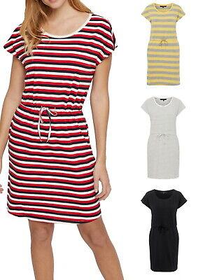 Vero Moda Damen Kleid kurzarm Rundhals vmApril Short Dress Baumwolle XS S M L XL - Schwarz Gestreiften Shorts