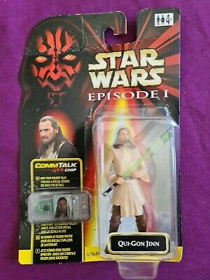 Hasbro Star Wars Episode 1 Qui-Gon Jinn CommTalk Chip Figure 1998 Star Case