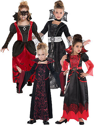 Vampire Girl Outfits (Deluxe Girls Vampire Queen Costume Long Vampiress Halloween Fancy Dress Outfit)