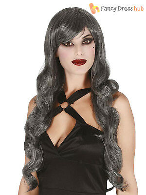 Ladies Long Curly Silver Grey Wig Witch Ghost Halloween Fancy Dress Costume
