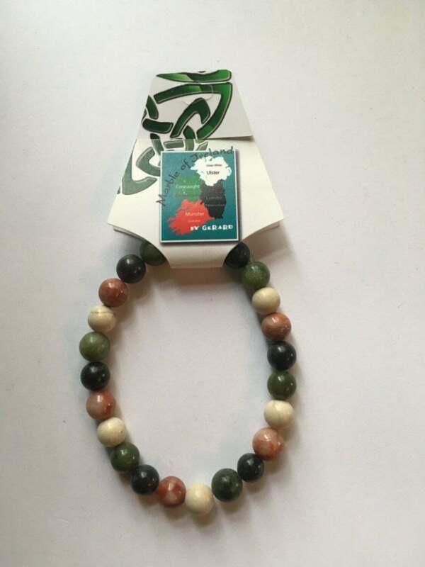 Genuine Marble Of Ireland(4 Province) Stretch  Bracelet 8mm beads