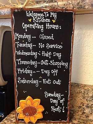 SUNFLOWER KITCHEN SIGN Decor country Wood CraftS HOME Plaque Wall Hanger Cute