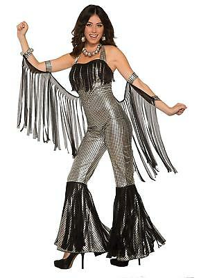 Disco Queen Halloween (Disco Queen Jumpsuit 70's Retro Fancy Dress Up Halloween Adult Costume 2)