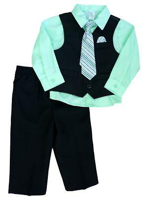 George Infant Toddler Boys 4 Piece Black Dress Outfit Shirt Vest Tie Slacks ()